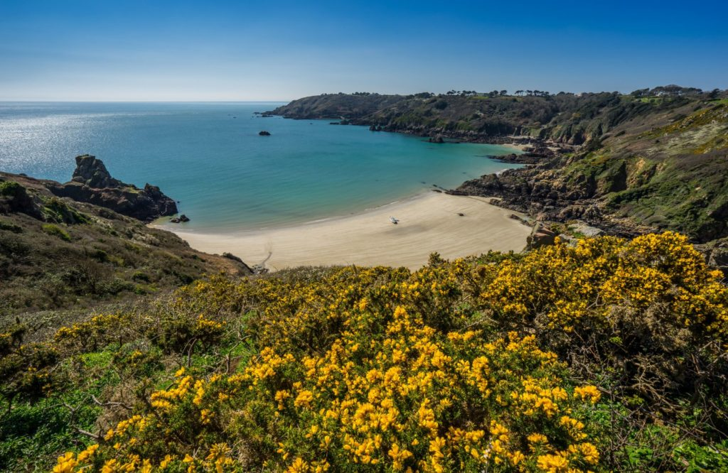 View of Guernsey coast and beach